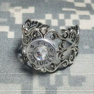 9mm silver filigree adjustable bullet ring